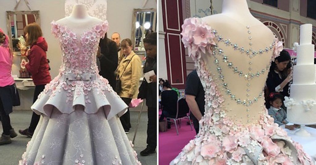 front and back view of wedding cake dress
