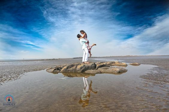 pre-wedding shoot on blue sky background