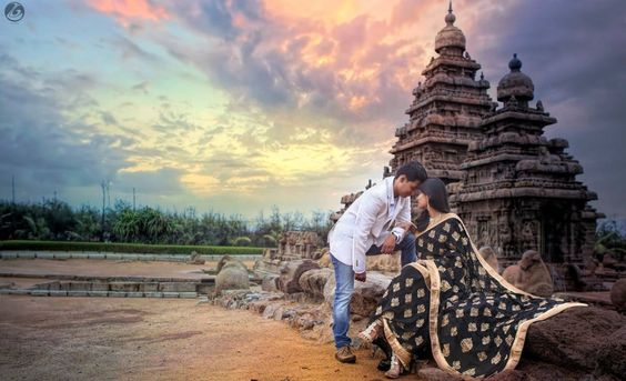 Pre wedding shoot temple background