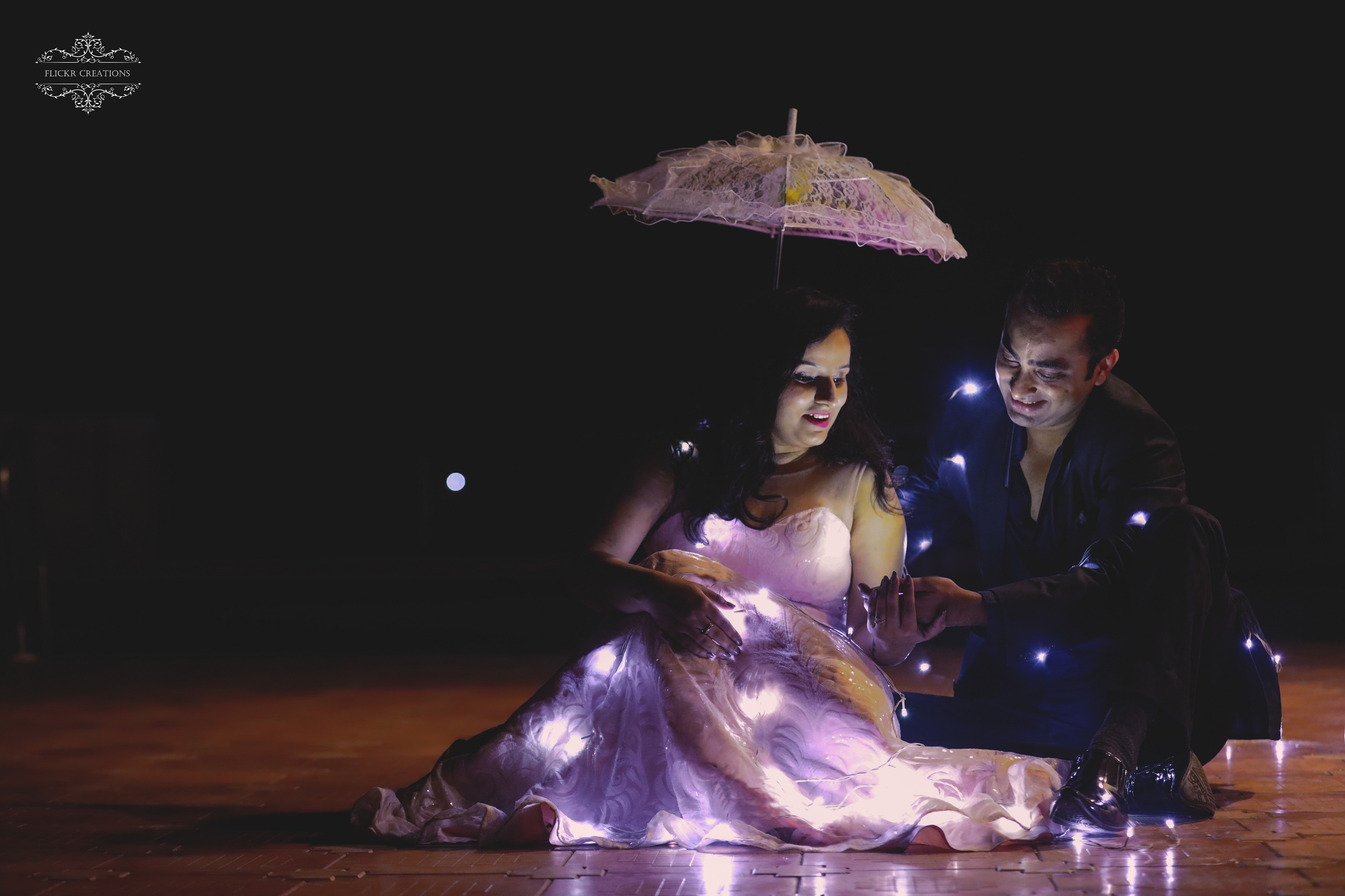pre-wedding photoshoot with fairy lights