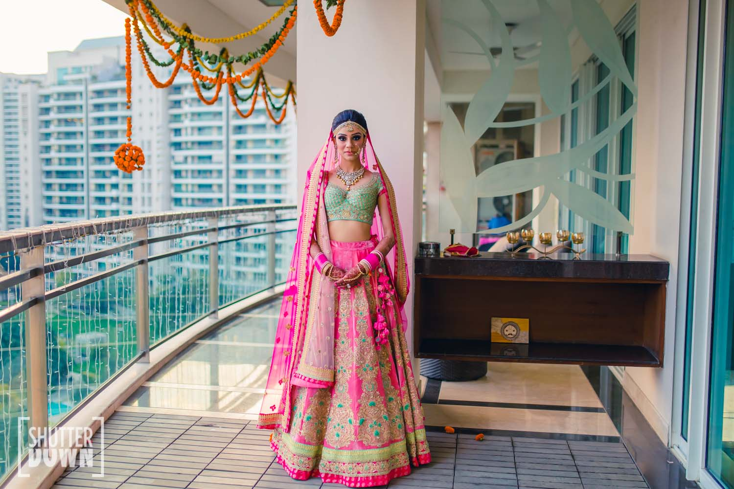 Delhi Bride in Fuchsia and Pastel Green Lehenga| 11 Unique Lehenga Hues That Will Make You Ditch The Usual Red | FunctionMania