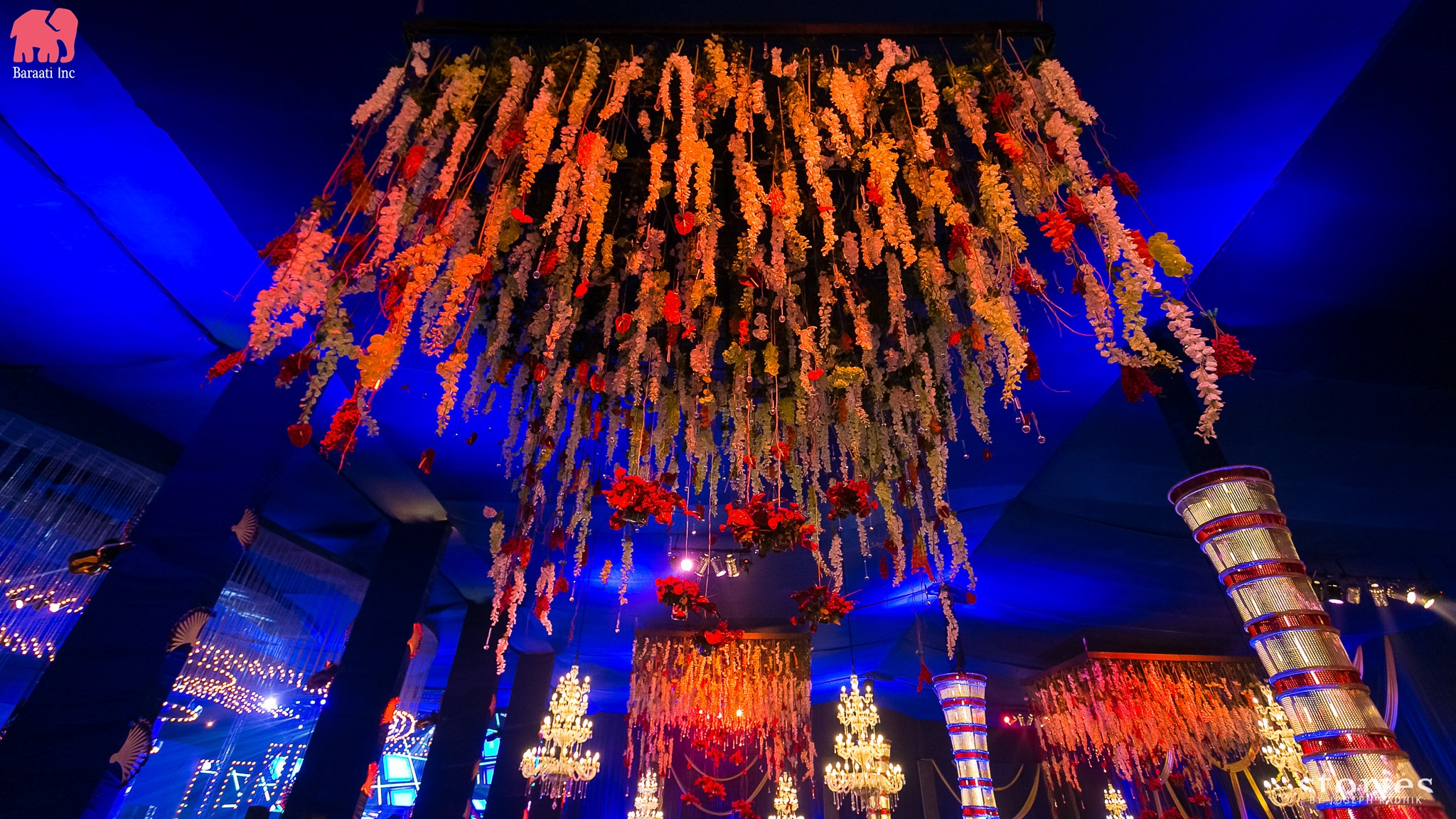 Flower Decorations Chandelier| Sangeet Venue Decor | Baraati Inc | This Couple's IIFA Themed Sangeet Is the Most Fun Thing You'll See Today | FunctionMania