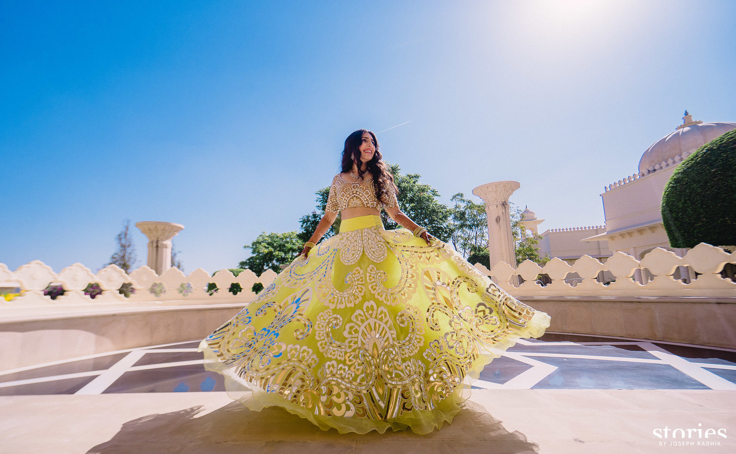 Twirling Bride in Lemon Green Laser Print Lehenga | 11 Unique Lehenga Hues That Will Make You Ditch The Usual Red | FunctionMania