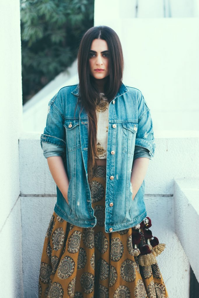 Blouse with Denim Jacket