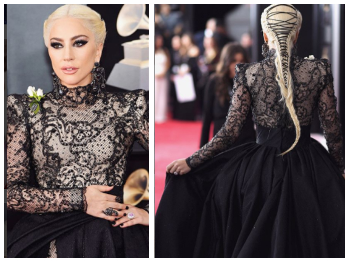 Lady Gaga in black Armani Prive ball gown for Grammys 2018 | Ladu Gaga's Fishtail Braid with black corseted look from the back | Party hairstyle ideas for girls | latest hairdos | Hairstyle for Parties | Function Mania |