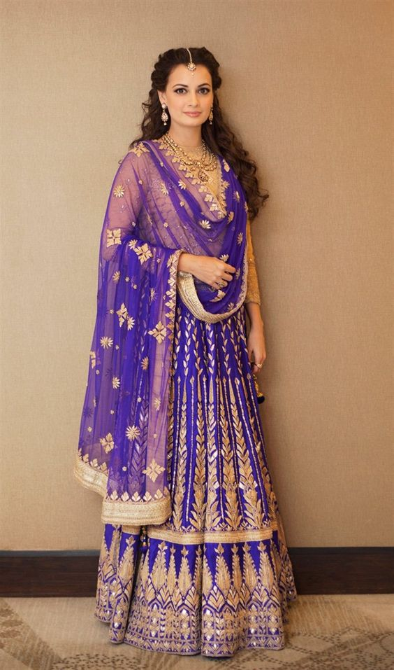 Anita Dongre- Violet and Golden Bridal Lehenga-Gorgeous Bridal Lehengas Inspired by Pantone Colour of the year!- Function Mania