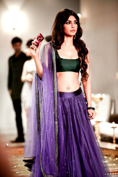 Ultraviolet lehenga with deep blush green blouse and net dupatta for Indian Bridesmaid-FUNCTIONMANIA- 9 Beautiful Ideas for Bridesmaids Dresses Inspired By Pantone Color of the Year!