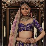 Sabyasachi Destination Wedding Violet Lehenga and Peach Pink-Net Dupatta-Gorgeous Bridal Lehengas Inspired by Pantone Colour of the year!-FunctionMania