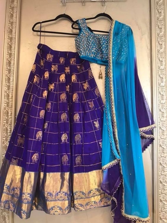 Banarasi Lehenga Choli with blue blouse and elephant design-FUNCTIONMANIA-9 Beautiful Ideas for Bridesmaids Dresses Inspired By Pantone Color of the Year!