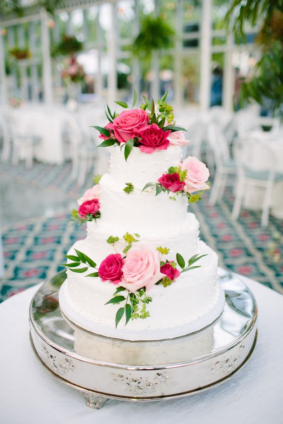 Hot pink, fuchsia, light pink, blush, green, and white bouquet cake