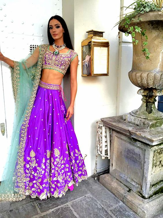 ultraviolet and indigo lehenga-choli-Anushree Reddy-9 Beautiful Ideas for Bridesmaids Dresses Inspired By Pantone Color of the Year!-FUNCTIONMANIA