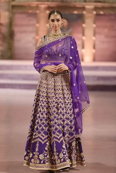 Violet Golden Jaal Embroidery Lehenga-Anita Dongre-Gorgeous Bridal Lehengas Inspired by Pantone Colour of the year!-Function Mania