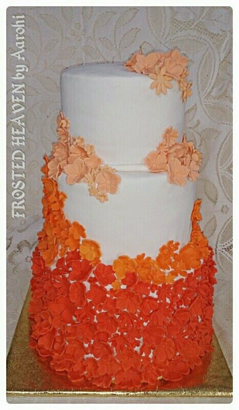 Orange floral Ombre Cake by Frosted Heaven by Arohi