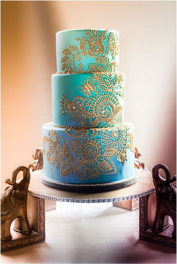 Shades of Teal on Ombre Wedding Cake