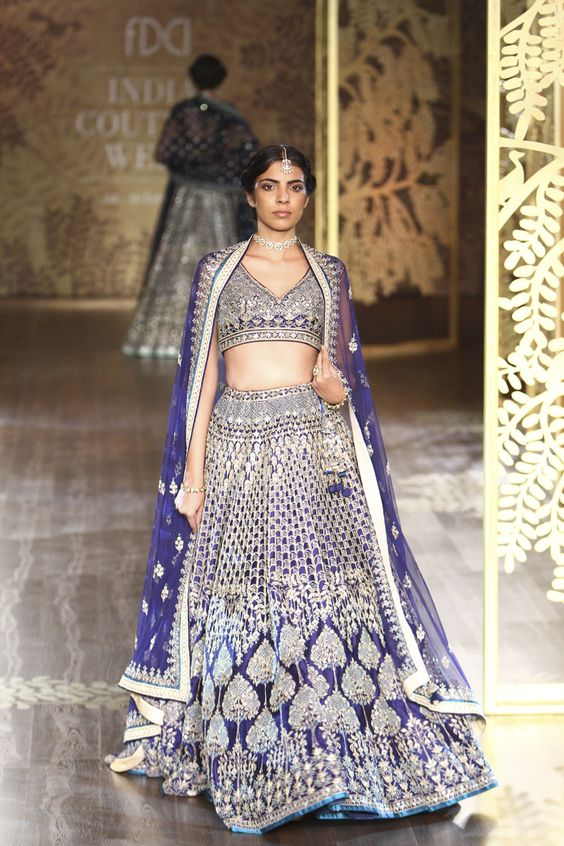 Anita Dongre- Ligt golden embroidery lehenga in Ultra Violet-Gorgeous Bridal Lehengas Inspired by Pantone Colour of the year!- Function Mania