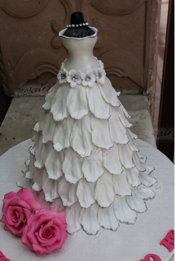 Bridal Gown white Cake by Eclairs