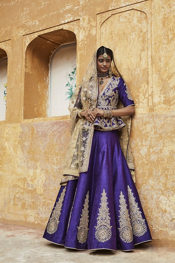 Violet and Golden lehenga with Peplum Blouse- Sue mue-Gorgeous Bridal Lehengas Inspired by Pantone Colour of the year!- Function Mania