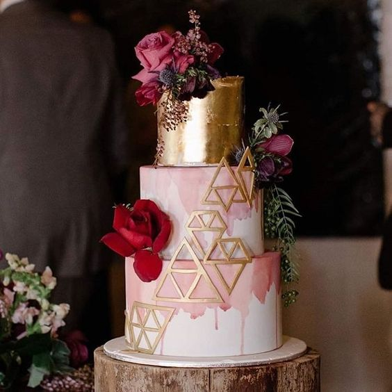 5. Geometric Ombre pink and Gold wedding cake