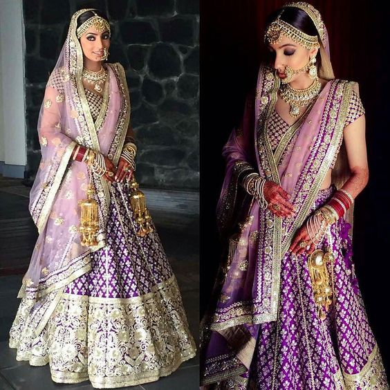 Sabyasachi Violet and Rose Pink Lehenga-Gorgeous Bridal Lehengas Inspired by Pantone Colour of the year!-Function Mania