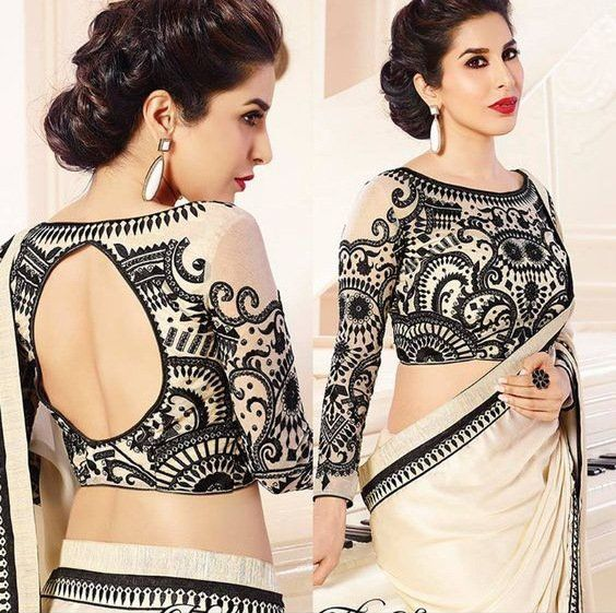 Boat Neck Blouse Design on Ivory Saree for Bridesmaids and Sister-of-the-brides