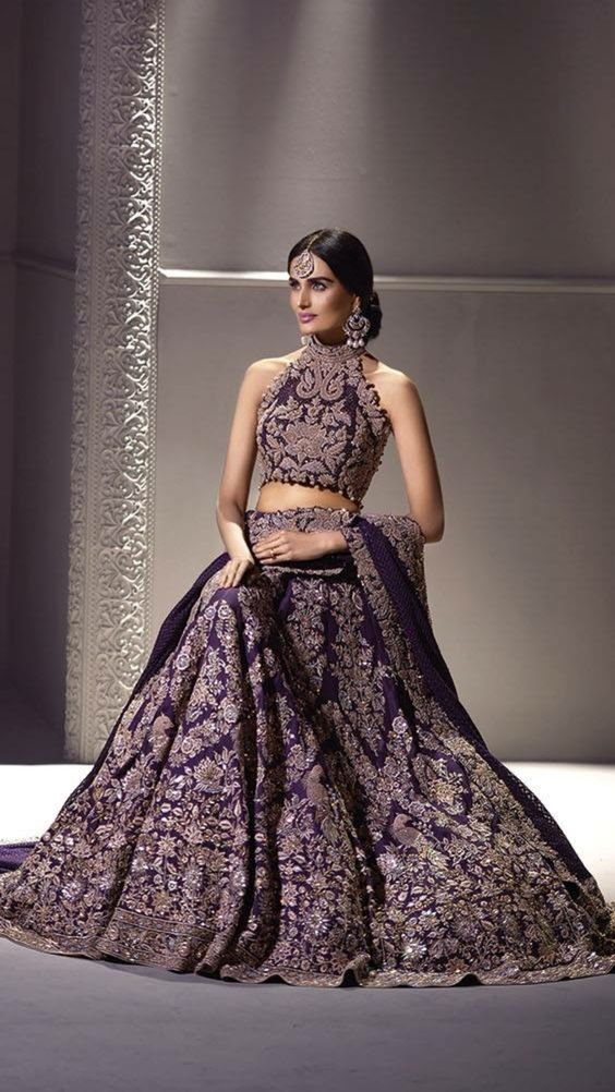 Violet Bridal Lehenga with Rich Enbroidery-Gorgeous Bridal Lehengas Inspired by Pantone Colour of the year!-Function Mania