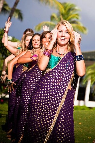 Ultra-Violet Polka Dot Saree paired with turquoise silk blouse for bridesmaids dresses-FUNCTION MANIA-9 Beautiful Ideas for Bridesmaids Dresses Inspired By Pantone Color of the Year!