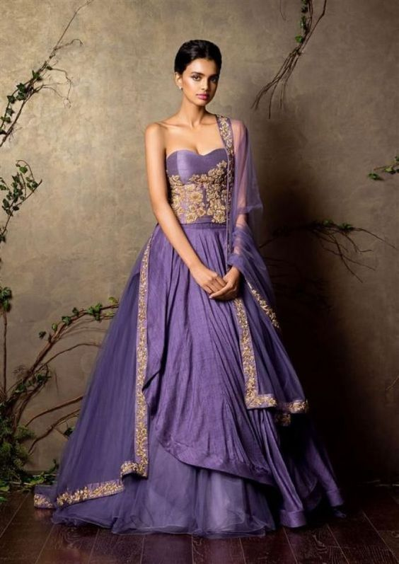 Shyamal And Bhumika-Off shoulder Violet and Golden Bridal dress-Gorgeous Bridal Lehengas Inspired by Pantone Colour of the year!-Function Mania