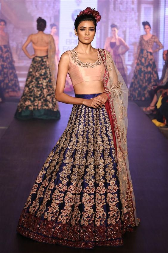 Peach and Ultra-Violet Lehenga for Brides-Gorgeous Bridal Lehengas Inspired by Pantone Colour of the year!-Function Mania