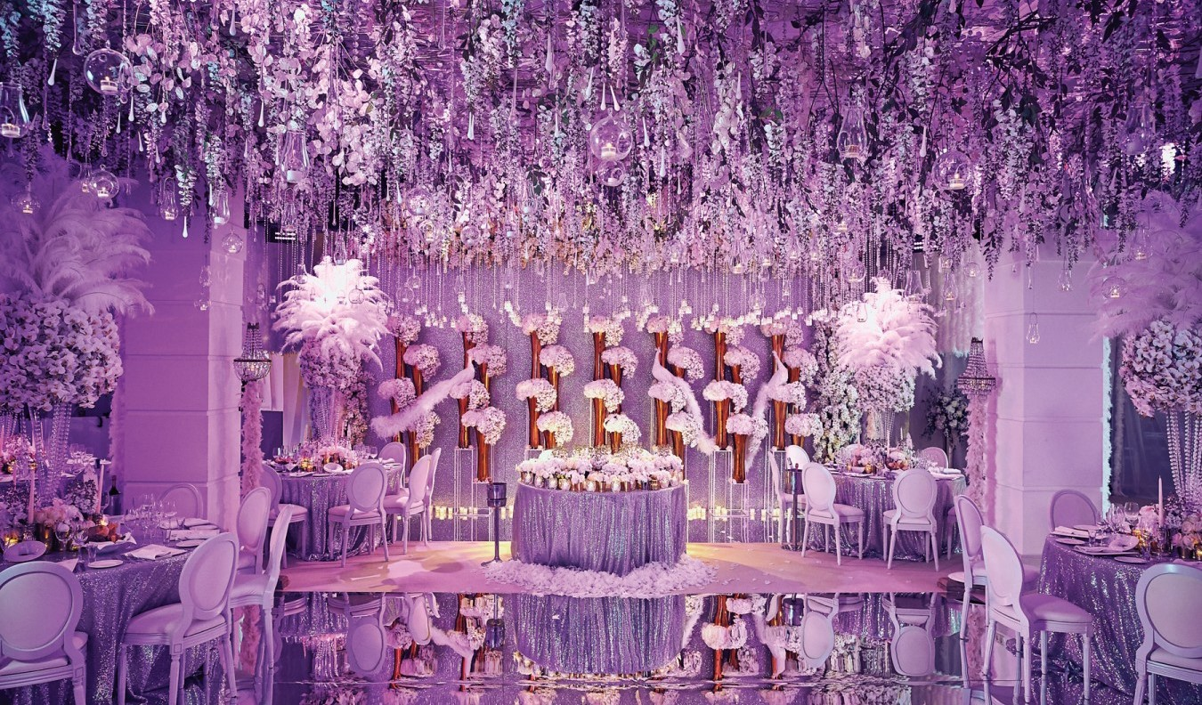 Floral Wedding Decor | indian Wedding decor| reception lighting | Golden Pillars | ceiling decor | Function Mania | #Trending: How to use hues of Ultraviolet for a chic wedding decor!