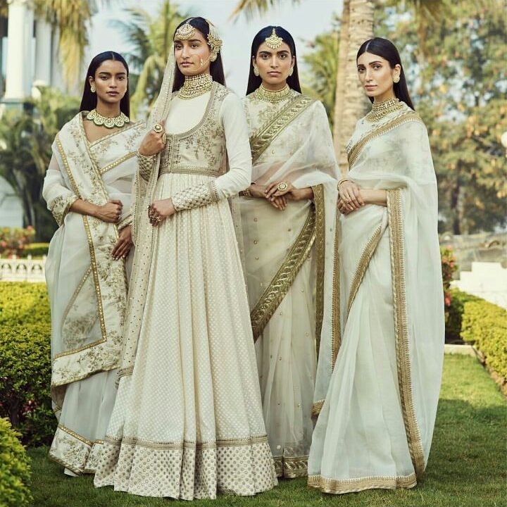 Ivory and Golden Bridal Wear by Sabyasachi for Summer weddings   niqah bridal wear   Indian Bridal Wear   white bridal dress   Function Mania   Spring Summer 2018 Collection