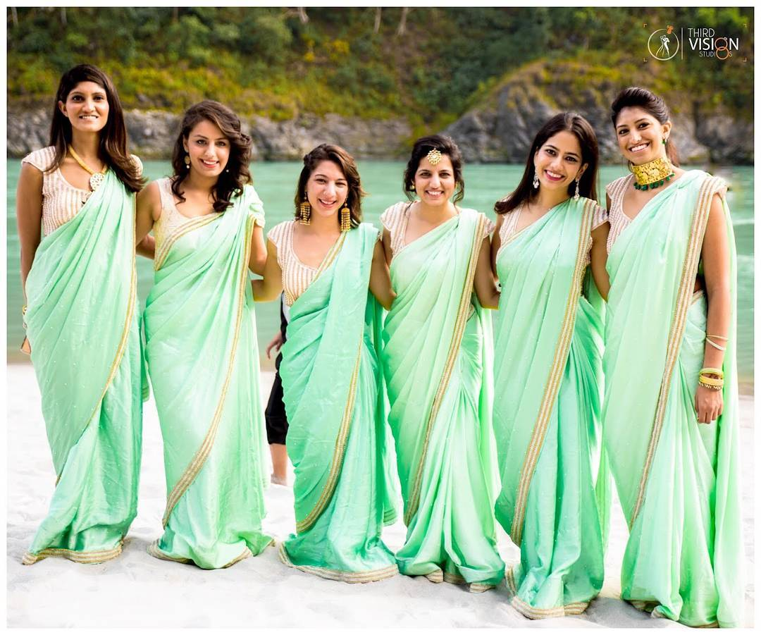 Bridesmaids posing for a picture | Indian Bridesmaids Outfit IDeas | Mint green sarees for bridesmaids | Beachside wedding guest outfit ideas | India wedding pictures | best Indian wedding photographer | Third Vision Studio | Function Mania