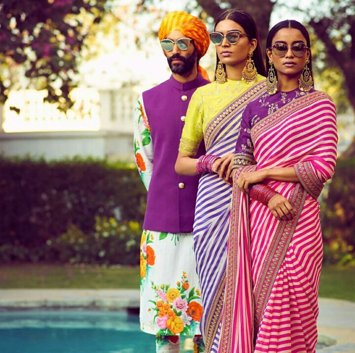 printed cotton striped sarees   Colour contrasts for summer weddings   Groomsmen Outfit Ideas   Sabyasachi Spring Summer Collection 2018   Function Mania