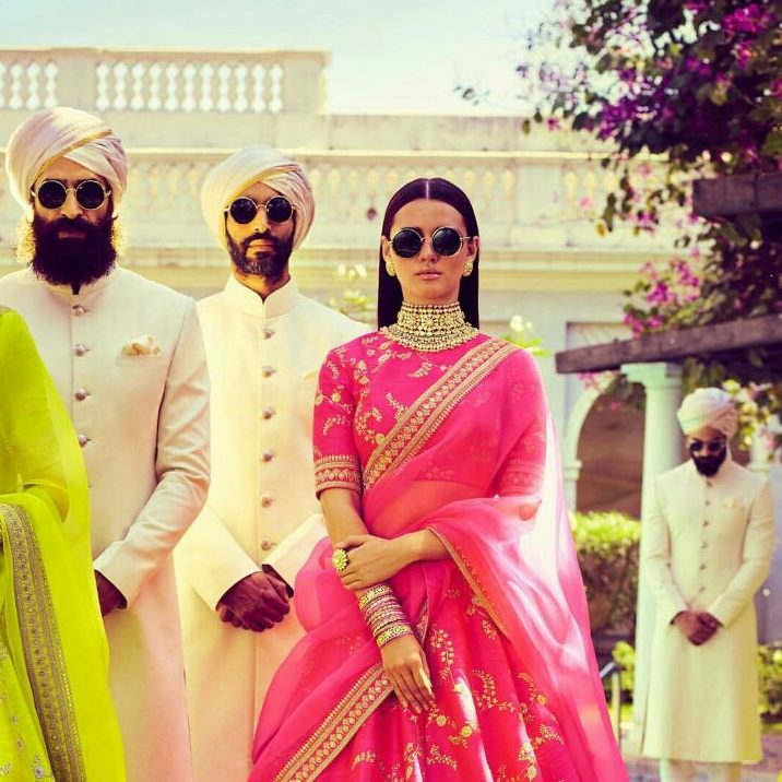 White Bandhgala for grooms and groomsmen   wedding guest outfit ideas   bridesmaids outfit ideas   summer wedding outfit ideas   Pink lehenga with golden zari and embroidery by Sabyasachi   Spring Summer Collection 2018   Function Mania