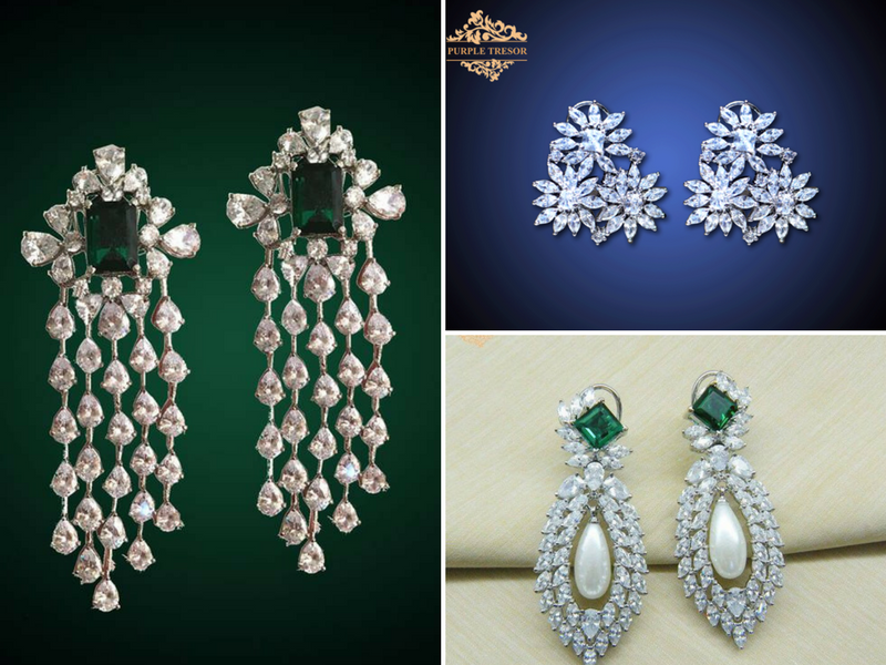 Earrings by purple tesor- diamond and emerald   Diamond And Emerald Jewellery   Bridal Jewellery   Reception Party Bridal Jewellery   Function Mania