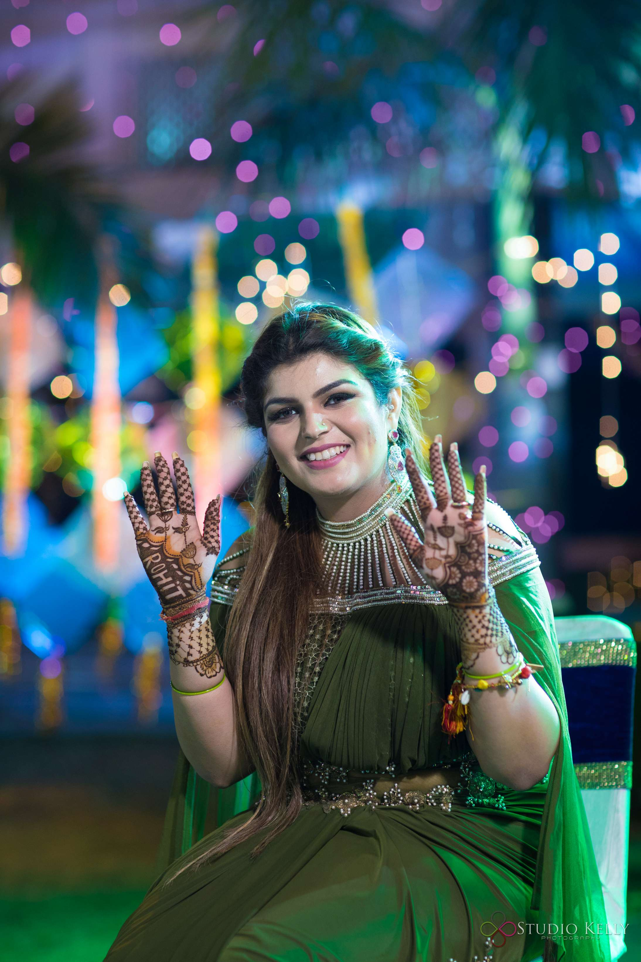 indian bridal mehendi | mhendi ideas | mehendi designs with groom's name | beautiful indian bridal mehendi | indian cocktail party pictures | indian wedding pictures | olive green bridal gown | indian bridal indo-western | green bridal gown | beautiful Indian bridal gown | fun party pictures | indian cocktail party ideas | function mania