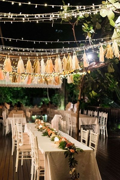 Stunning Ceiling Decor Ideas You Can Steal For Your Wedding!| Fairy lights and tassels for a gorgeous evening decor! | Wedding decor ideas | Evenng ceremoy decor ideas | Table decor ideas | Tassel Decor | Function Mania | airy Lights Decor |