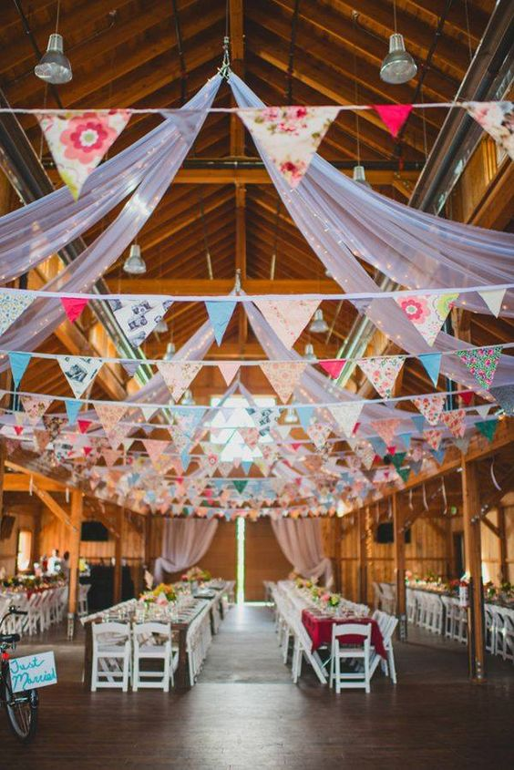 Stunning Ceiling Decor Ideas You Can Steal For Your Wedding!| paper flags with multi prints and different patterns | nction Mania | Indoor Ceiling decor ideas | White decor ideas | wedding decor ideas | Day wedding decor ideas