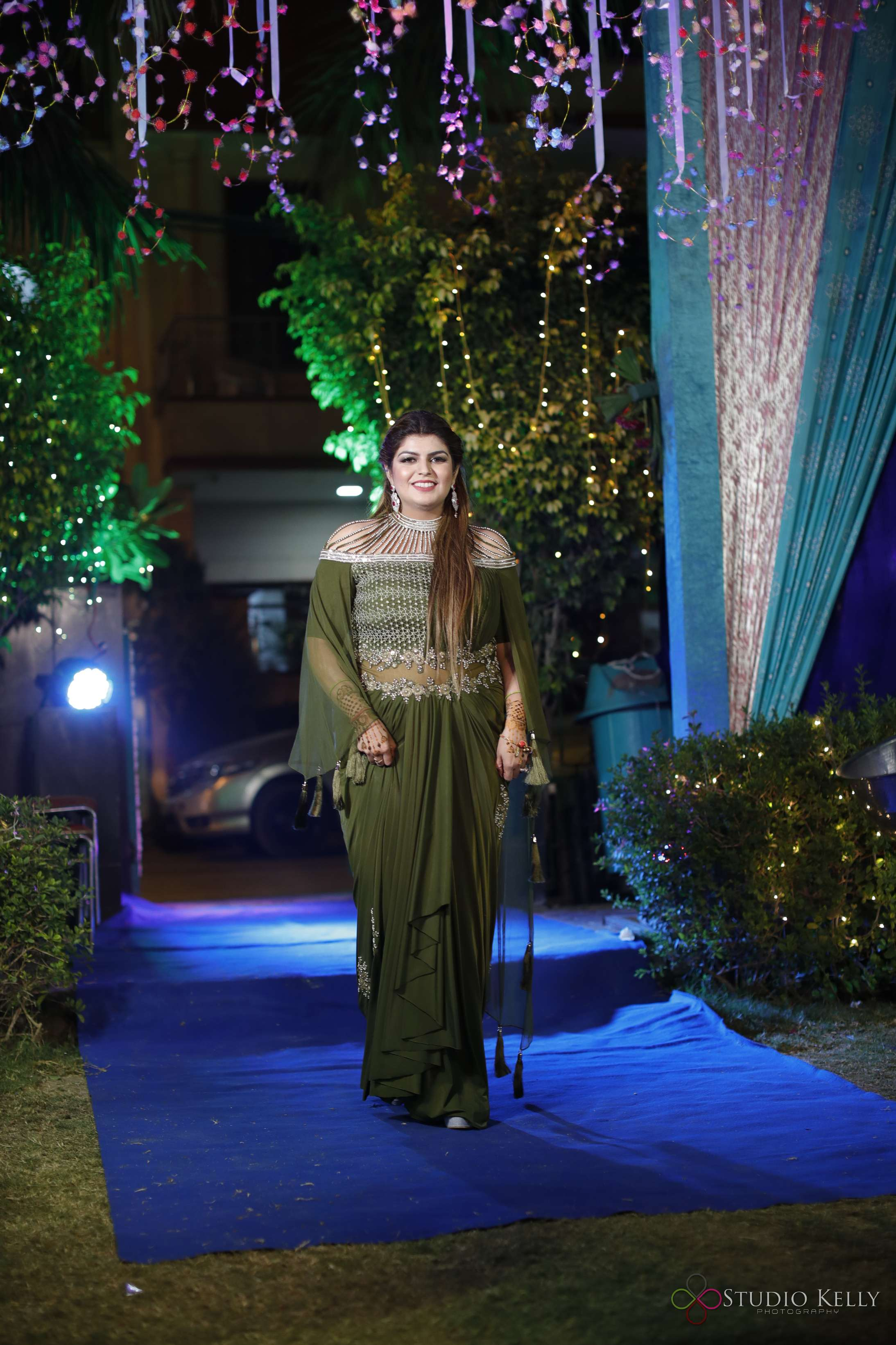 bridal entrance ideas |indian cocktail party pictures | indian wedding pictures | olive green bridal gown | indian bridal indo-western | green bridal gown | beautiful Indian bridal gown | fun party pictures | indian cocktail party ideas | function mania