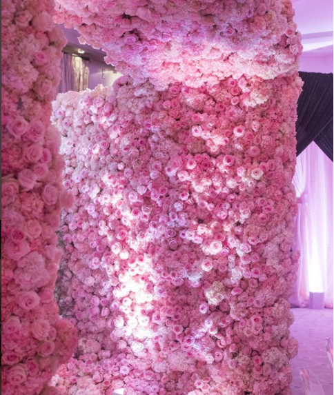 Rose wall for party decor