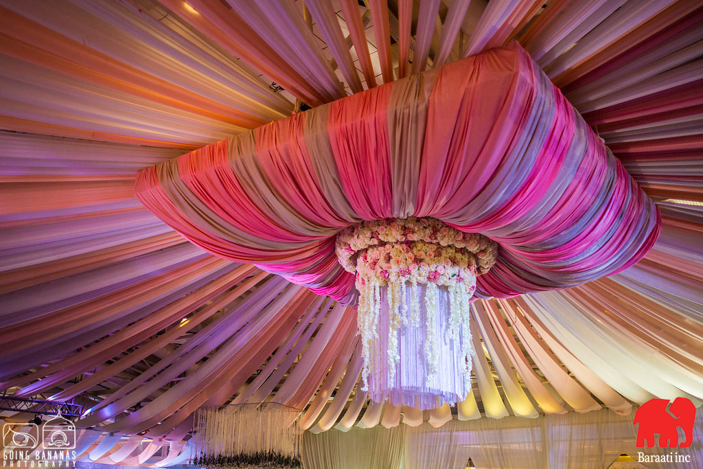 Floral Ceiling Chandelier | A Plush Start-Studded Wedding Reception With Stunning Ceiling Decor | Function Mania | Ramya weds Rahul | When a Bengali Groom gets married the telugu way | Indian wedding | Intercultural weddings are the best | Indian wedding decor | Gorgeous wedding decor | Gorgeous ceiling decor \ white ceiling decor | Indian wedding decoration ideas | Hyderabadi weddings |
