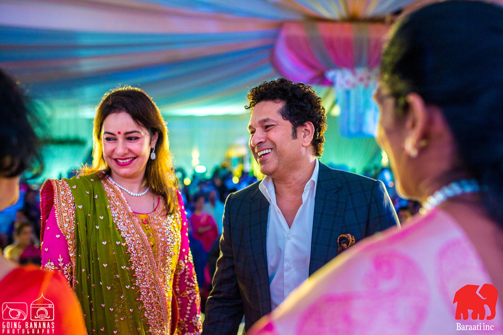 Sachin Tendulkar and Anjali Tendulkar attending a wedding in Hyderabad | A Plush Start-Studded Wedding Reception With Stunning Ceiling Decor | Function Mania | Ramya weds Rahul | When a Bengali Groom gets married the telugu way | Indian wedding | Intercultural weddings are the best | Indian wedding decor | Gorgeous wedding decor | Gorgeous ceiling decor \ white ceiling decor | Indian wedding decoration ideas | Hyderabadi weddings |
