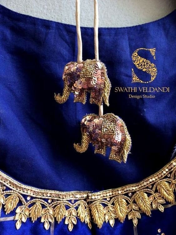 Sequin Elephant Latkan For Blue Lehenga and saree