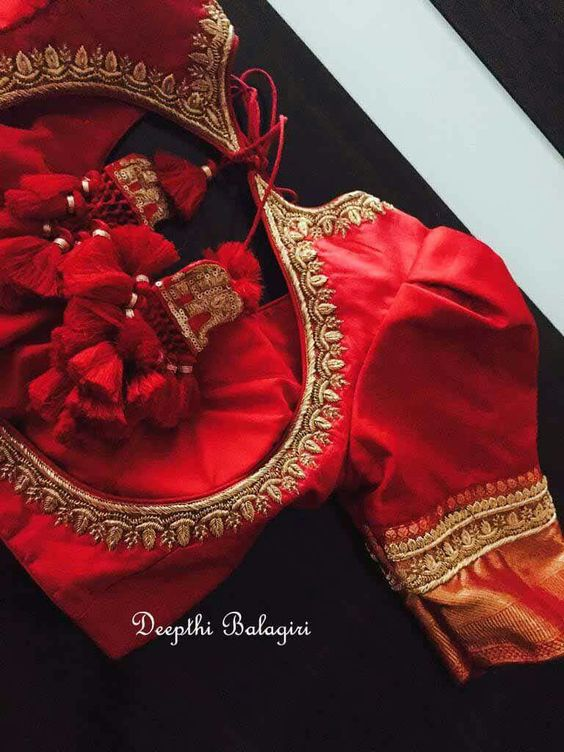 Embroidered elephant motif tassels with red fringes for lehenga blouse and saree blouse