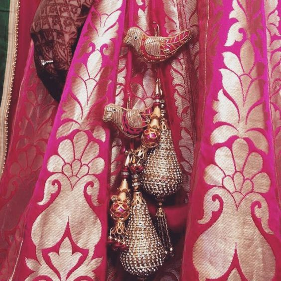 Bird Tassels with Heavy Details for a pink brocade lehenga