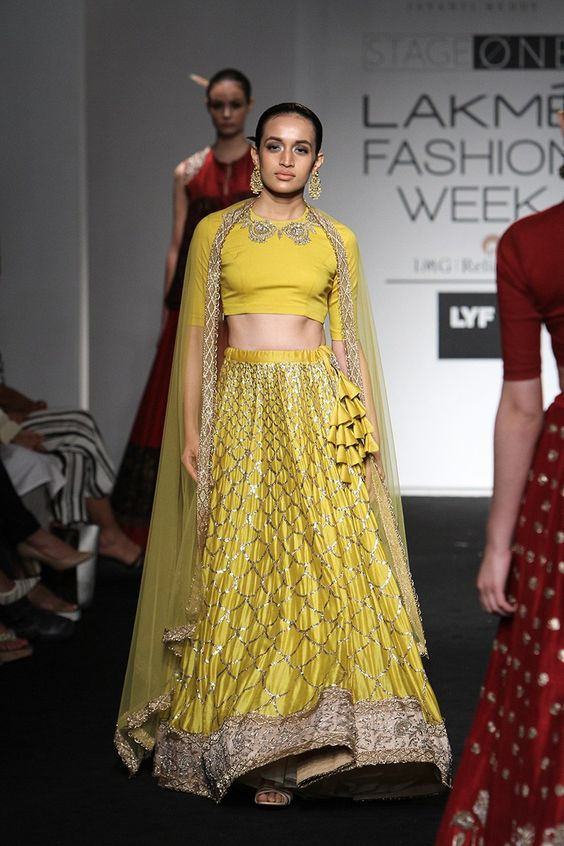 matching yellow cloth tassels for embroidered lehengas