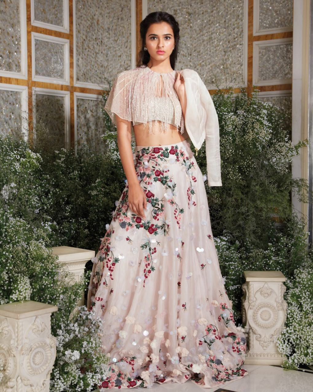 Floral embroidered and embellished lehenga with its sequinned blouse