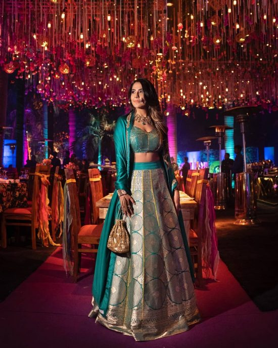 sea green and golden brocade lehenga!