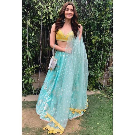 Aqua blue and yellow for lehenga for bridesmaids, sister of the bride