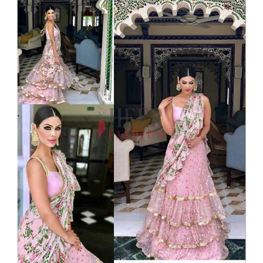 gorgeous pink and floral lehenga with frills